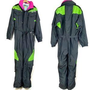 Vtg HARD CORPS Ski Snowsuit XL black Gore-Tex o708